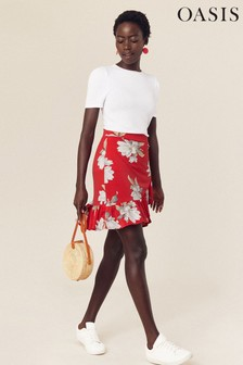 Oasis Red Large Rose Ruffle Wrap Skirt