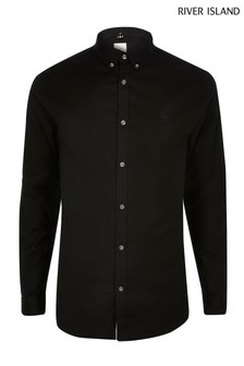 River Island Black Muscle Oxford Shirt