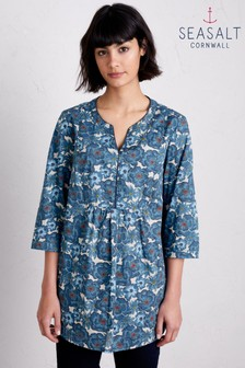 Seasalt Blue Stonecrop Floral Border Squall Tunic