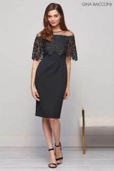 Gina Bacconi Black Manuela Embroidered Bodice Dress