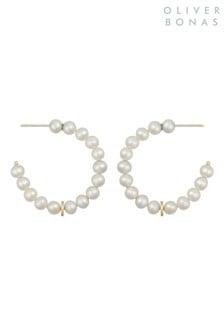Oliver Bonas White Dottie Pearl & Statement Hoop Earrings