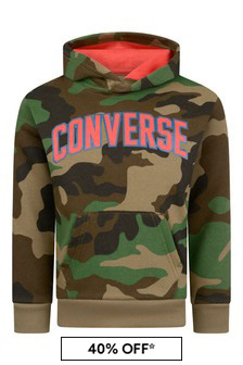 Boys Green Camouflage Cotton Logo Hoody