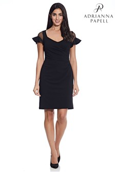 Adrianna Papell Black Knit Crepe Illusion Dress
