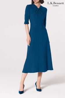 L.K.Bennett Blue Mariann Twist Neck Dress