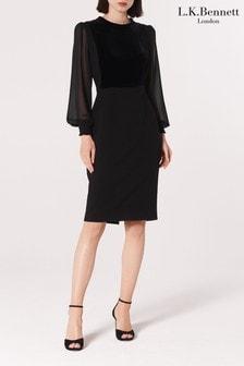 L.K.Bennett Black Aggie Velvet Crepe Dress