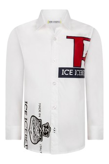 Boys White Popeline Logo Shirt