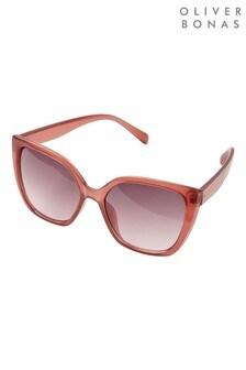 Oliver Bonas Pink Angled Sunglasses