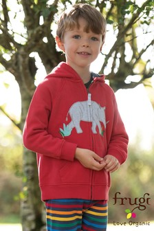 Frugi Organic Red Hoody With Lined Hood And Rhino Design