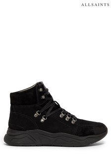 AllSaints Black Brant High Top Lace-Up Nubuck Trainers