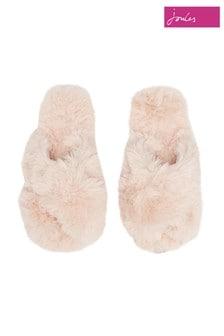 Joules Pink Slumber Faux Fur Sliders