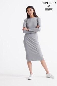 Superdry Grey Long Sleeve Dress