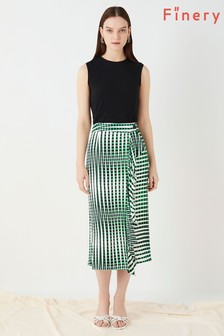 Finery London Green Lisson Wrap Skirt