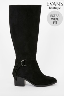 Evans Extra Wide Fit Tassel Side High Leg Boots