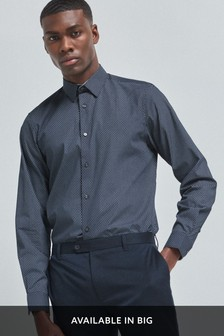 Printed Regular Fit Single Cuff Shirt With Trim Detail