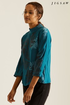 Jigsaw Blue Frosted Leaf Silk Front T-Shirt