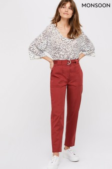 Monsoon Red Otis Casual Tapered Trousers