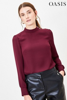 Oasis Top mit Knopfdetail, Rot