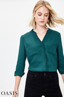 Oasis Green Frill Rouched Moss Crepe Shirt