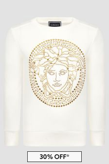 Versace Girls Ivory And Gold Logo Cotton Sweater