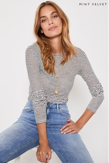 Mint Velvet White Ivory Striped Long Sleeved T-Shirt