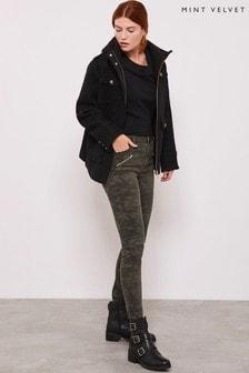 Mint Velvet Green Westwood Camo Biker Jeans