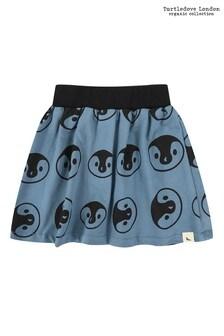 Turtledove London Blue Penguin Head Print Skirt