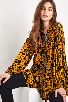 Free People Yellow/Black Floral Love Letter Tunic
