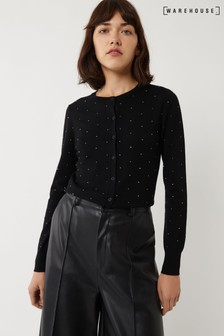 Warehouse Black Diamanté Crew Cardigan