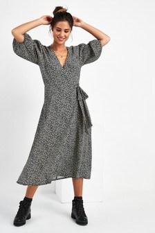 Wrap Front Printed Midi Dress