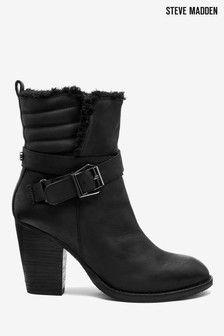 Steve Madden Yoba Black Heeled Buckle Boots