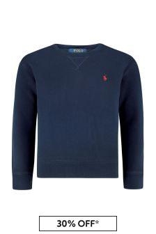 Ralph Lauren Kids Boys Navy Cotton Fleece Sweater