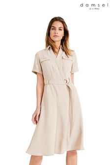 Damsel In A Dress Neutral Ennis Relaxed Trench Dress