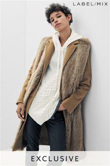 Mix/Osman Tailored Faux Fur Front Coat