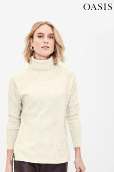 Oasis Natural Ribbed Roll Neck Jumper