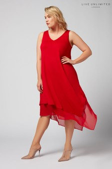 Live Unlimited Red Waterfall Hem Dress