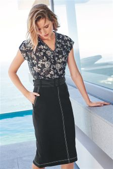 Top-Stitch Detail Pencil Skirt