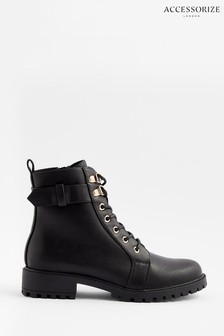 Accessorize Black Lace-Up Boots