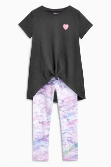 Knot Front T-Shirt And Leggings Set (3-16yrs)