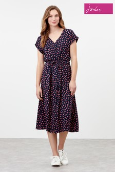 Joules Blue Yasmine Button Through V-Neck Dress