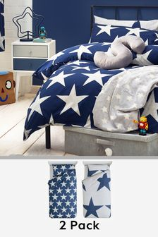 2 Pack Stars Duvet Cover And Pillowcase Set