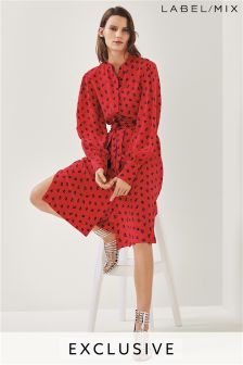 Mix/Osman Red Print Silk Shirt Dress
