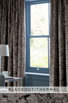 Crushed Velvet Eyelet Blackout/Thermal Curtains