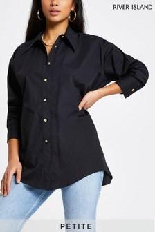 River Island Petite Black Open Back Shirt