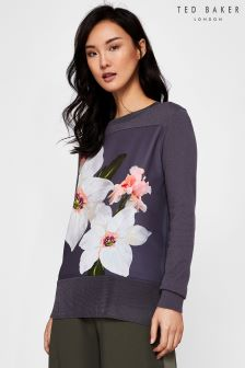 Ted Baker Jiosefi Grey Floral Woven Knit Jumper