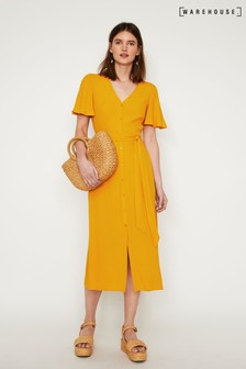 Warehouse Yellow Button Through Midi Dress