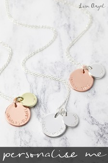 Personalised Double Disk 40cm Necklace by Lisa Angel