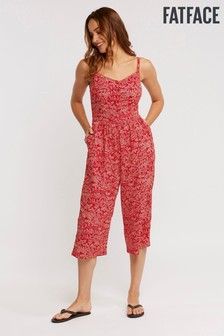 FatFace Red Talli Oriental Ditsy Jumpsuit