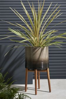 Ombre Glazed Pot With Wooden Legs