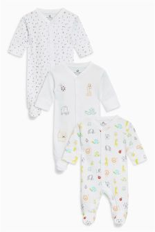 Animal Sleepsuits Three Pack (0mths-2yrs)