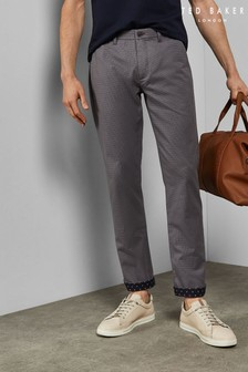 Ted Baker Slintea Slim Fit Textured Cotton Trousers